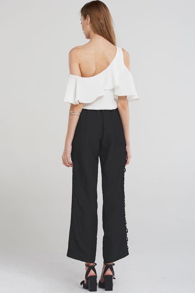 Emmy Side Lace Linen Pants-Black