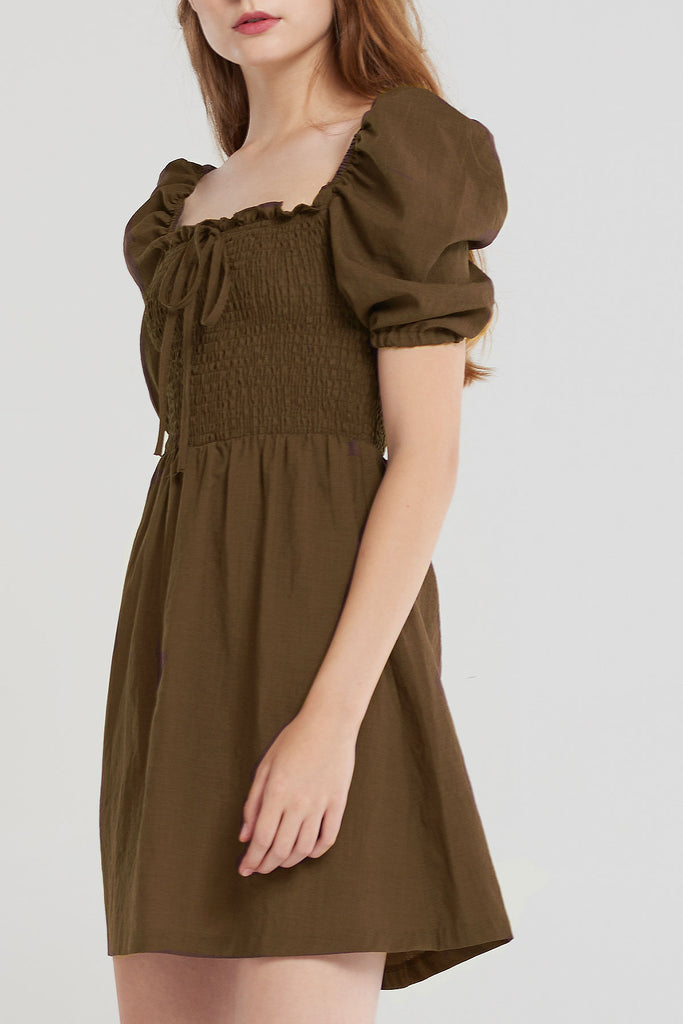 Clarissa Bust Shirred Puff Dress-Brown