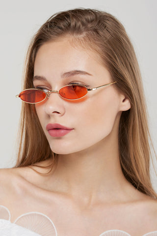 Skinny Round Sunglasses-Red