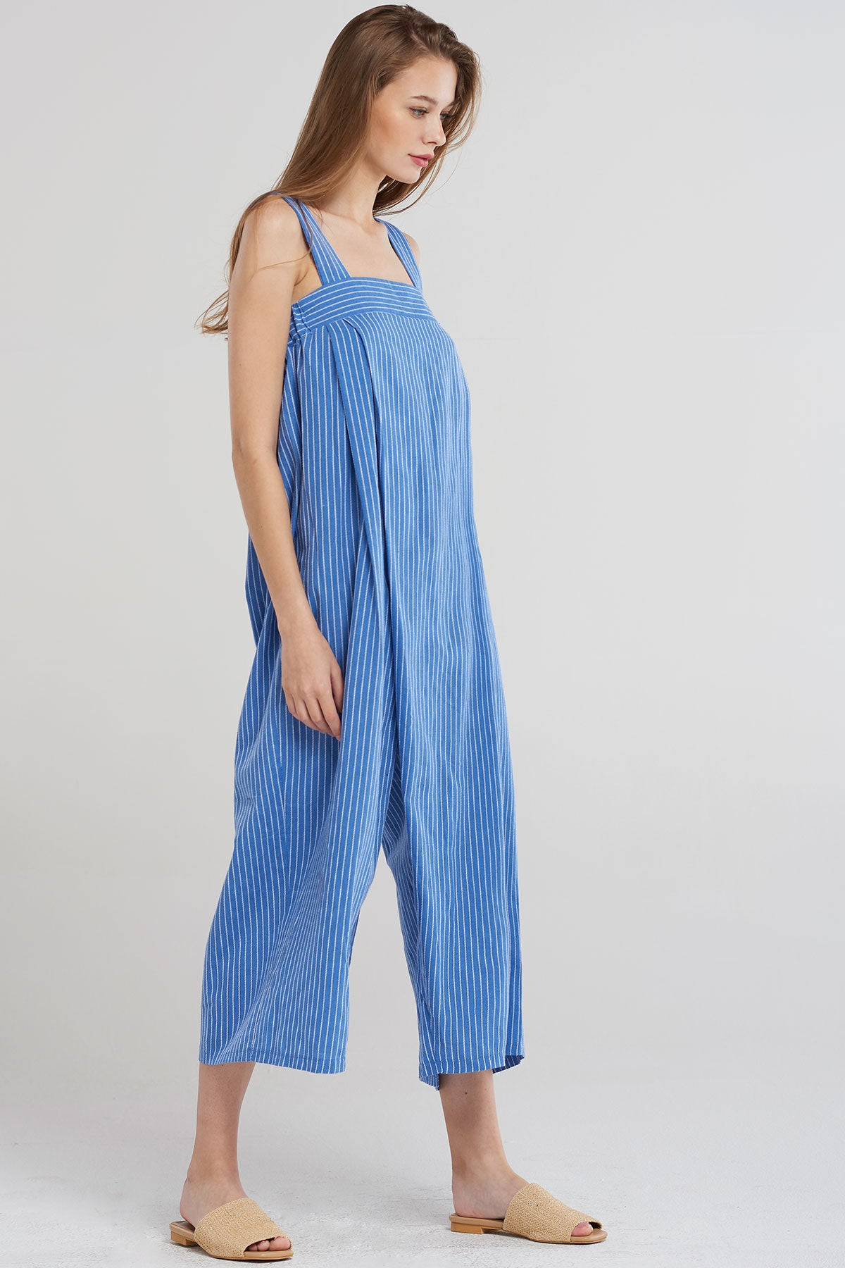 Avah Pinstripe Tomboy Jumpsuit-Skyblue