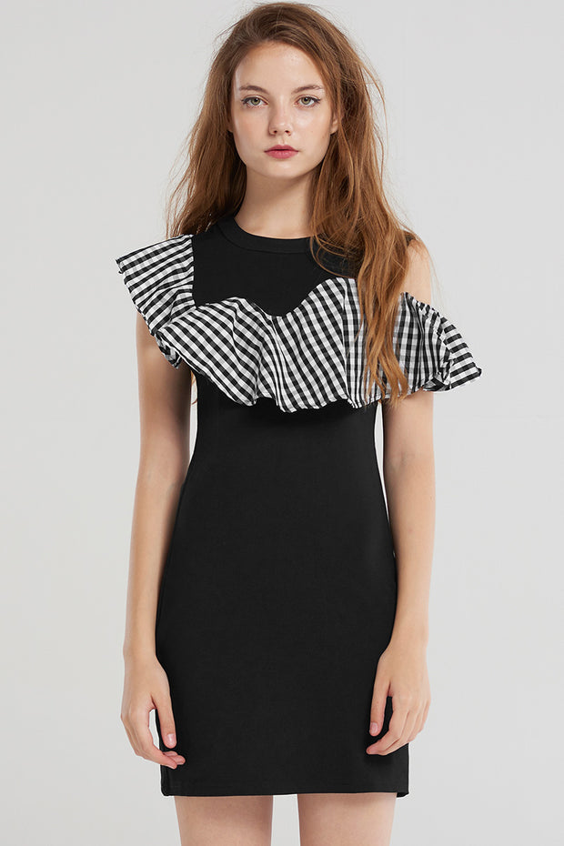storets.com Reina Unbal Check Ruffle Dress-Black