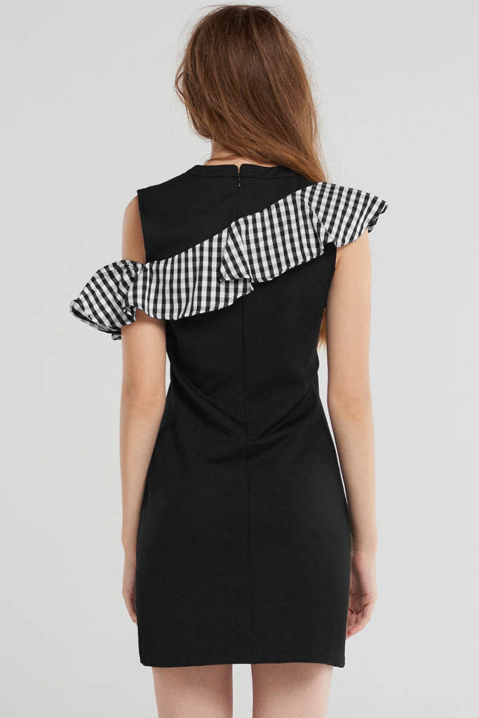 Reina Unbal Check Ruffle Dress-Black