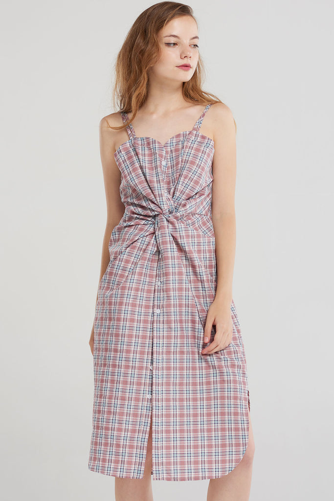 Holly Check Twist Slip Dress-Pink