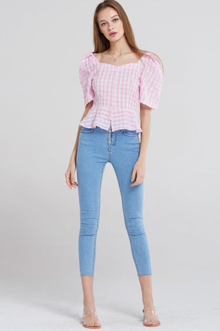 Gloria Pink Check Puff Short Blouse-Pink