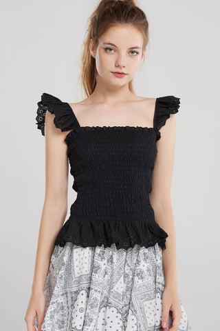 Romi Shirred Frill Top-Black