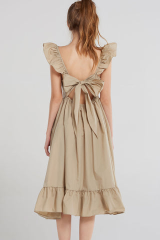 Anne Frill Ribbon Dress-Beige