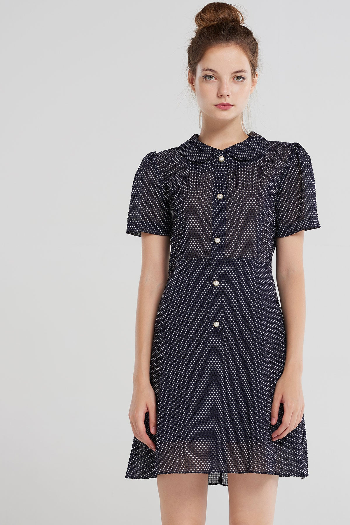 Elyse Dotted Soft Collar Day Dress-Navy