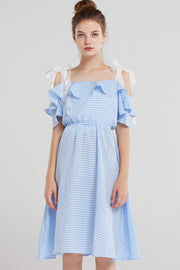 Keni Shoulder Ribbon Gingham Dress