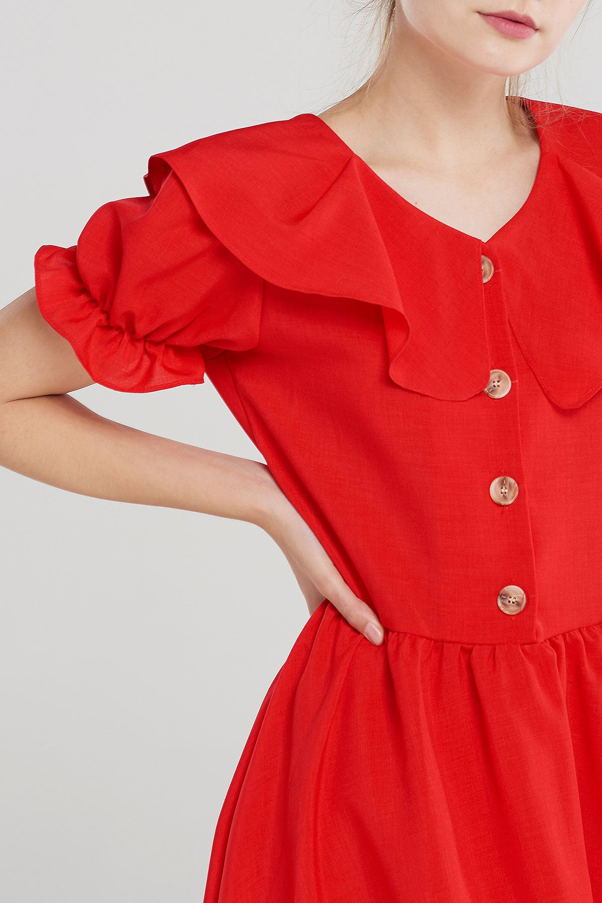 Carry Puff Button Dress-Red