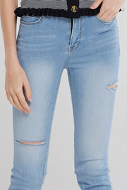 Lori Knee Slit Jeans-Skyblue