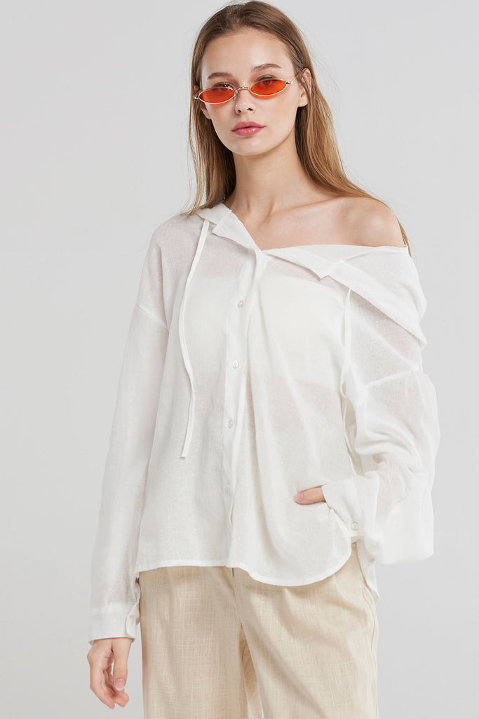 Ivy Button-up Hood Blouse-Ivory