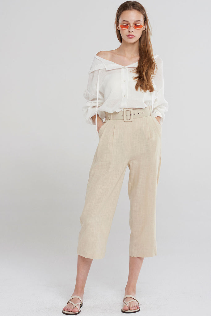 Elsa Belted Linen Straight Pants-Beige