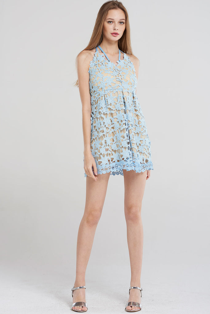 Ellen Front Back X Strap Dress-Skyblue