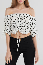 Annika Polka Dot Shirring Blouse-White