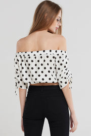 storets.com Annika Polka Dot Shirring Blouse-White