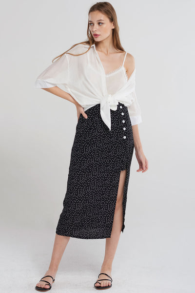 Kennedi Dotted Slit Long Skirt-Black