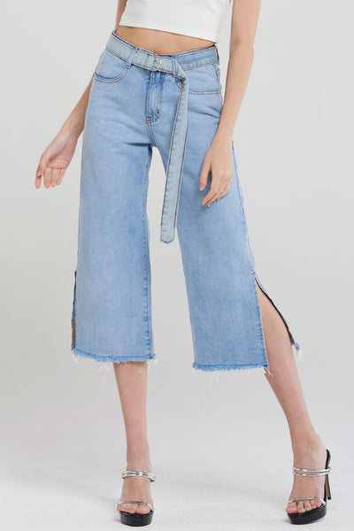 Anahi Side Slit Denim Belt Pants-Blue