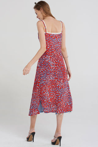 Jamie Colored Leopard Print Dress-Red