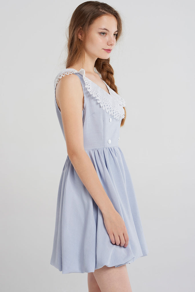 Gigi Lace Neck Sleeveless Dress-Skyblue