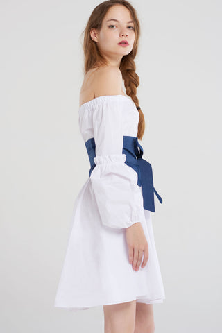 Briar Denim Ribbon Corset Dress-White