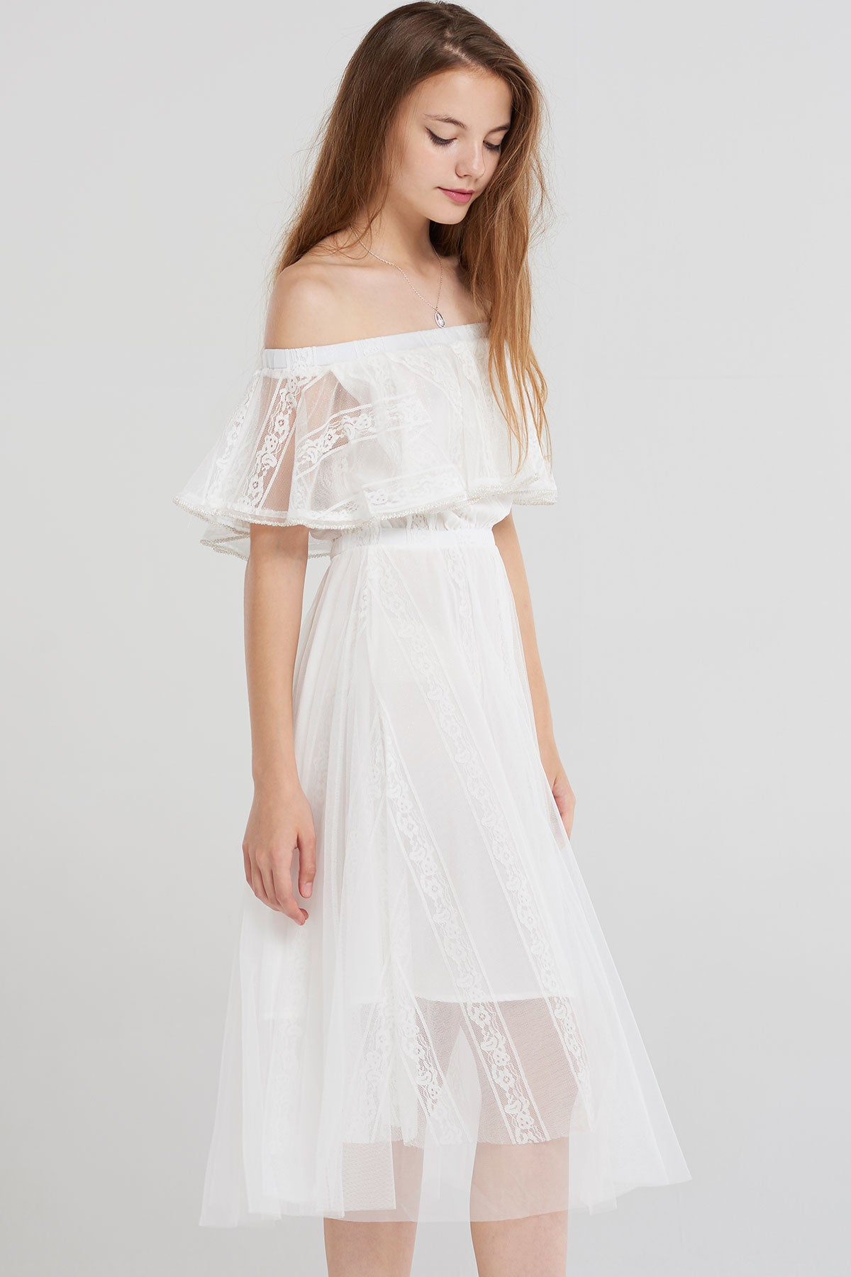 Kadence Layered Mesh Tea Dress-White