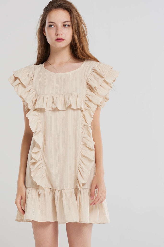 Amiya Angelic Ruffle Mini Dress-Beige