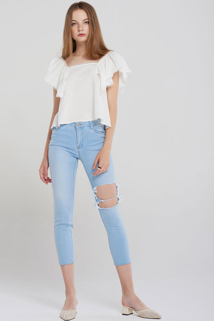 Lia Square Neck Ruffle Blouse-Ivory