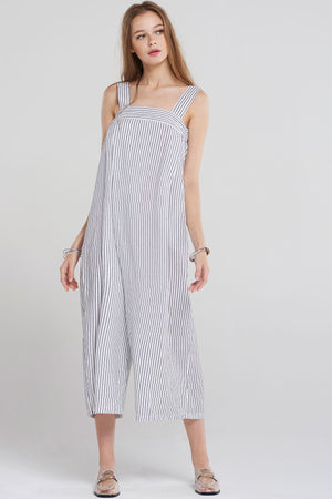 Avah Pinstripe Tomboy Jumpsuit-Ivory