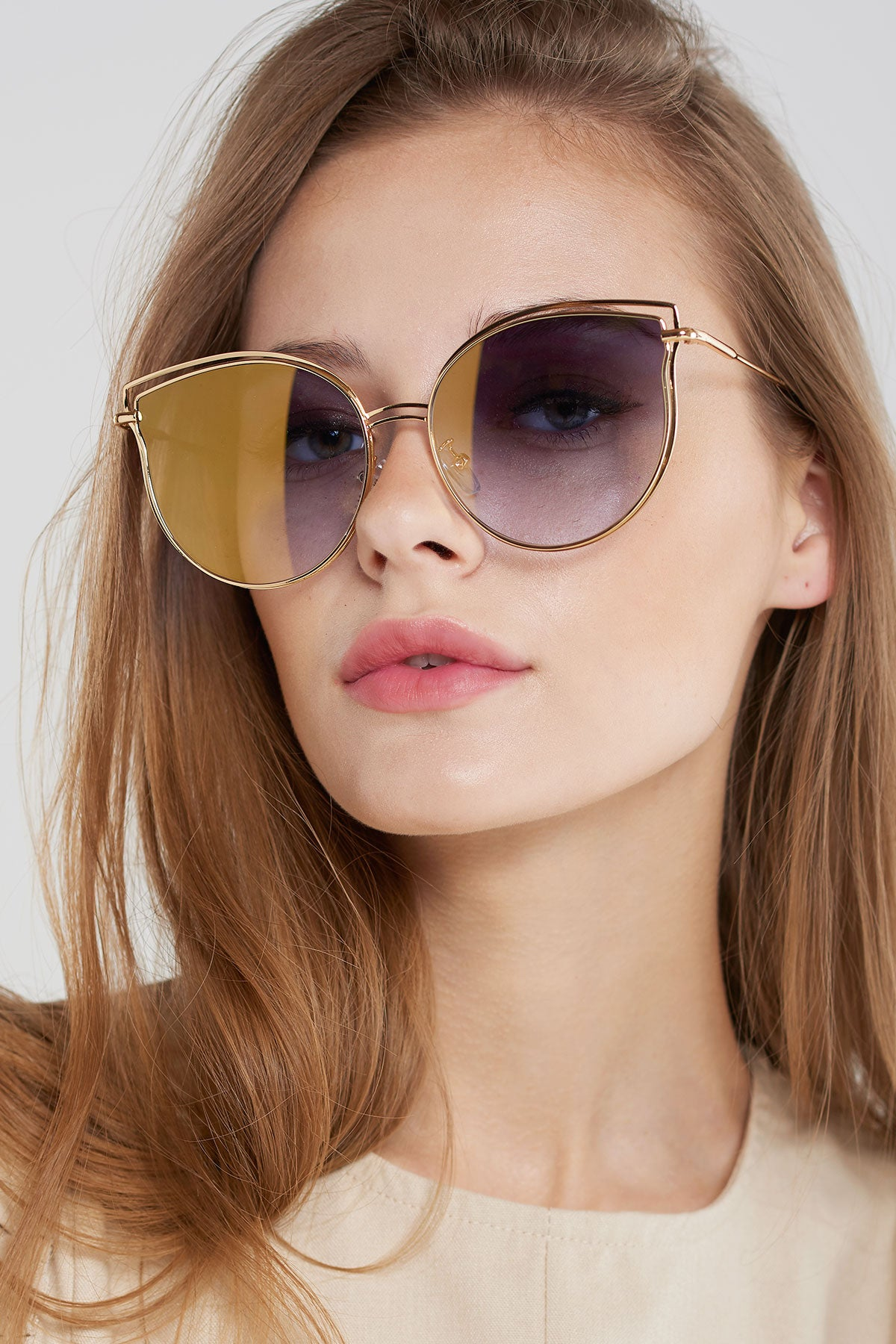 Double Frame Sunglasses-Brown