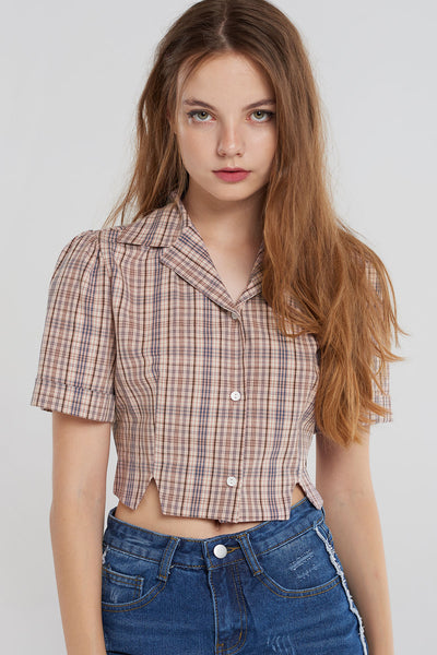 Dayana Glen Check Short Blouse-Pink