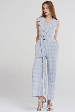 Leyla Glen Check Jumpsuit-Skyblue