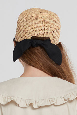 Lapia Ribbon Cap Hat-Black
