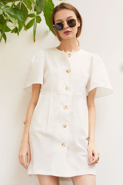 Alena Puff Shoulder Button-up Dress-Ivory
