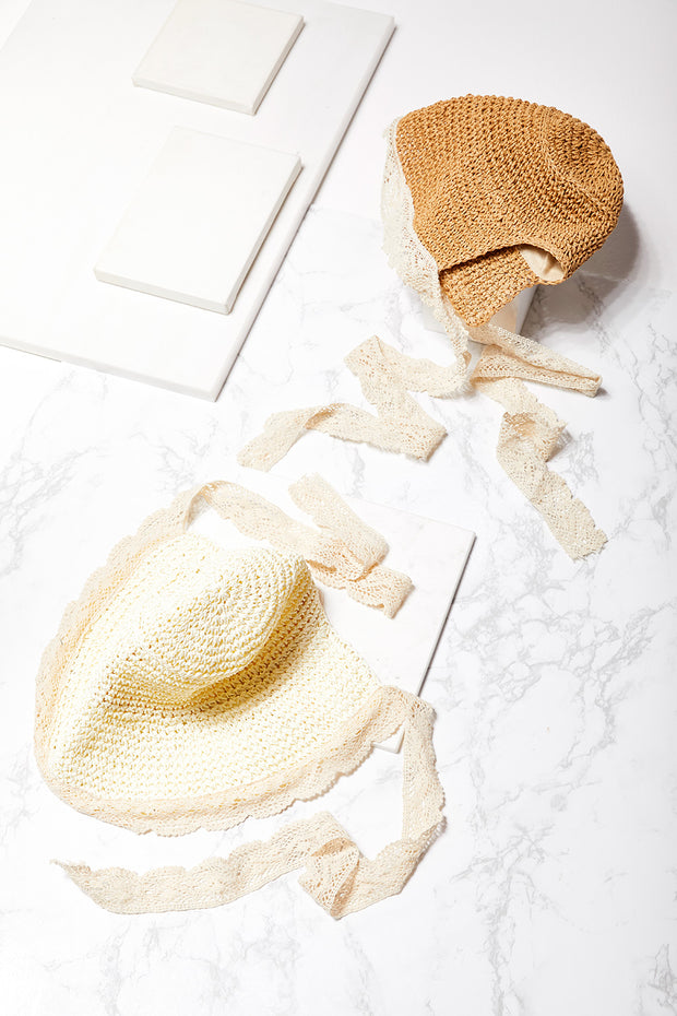 Straw Bucket Hat w/Crochet Lace