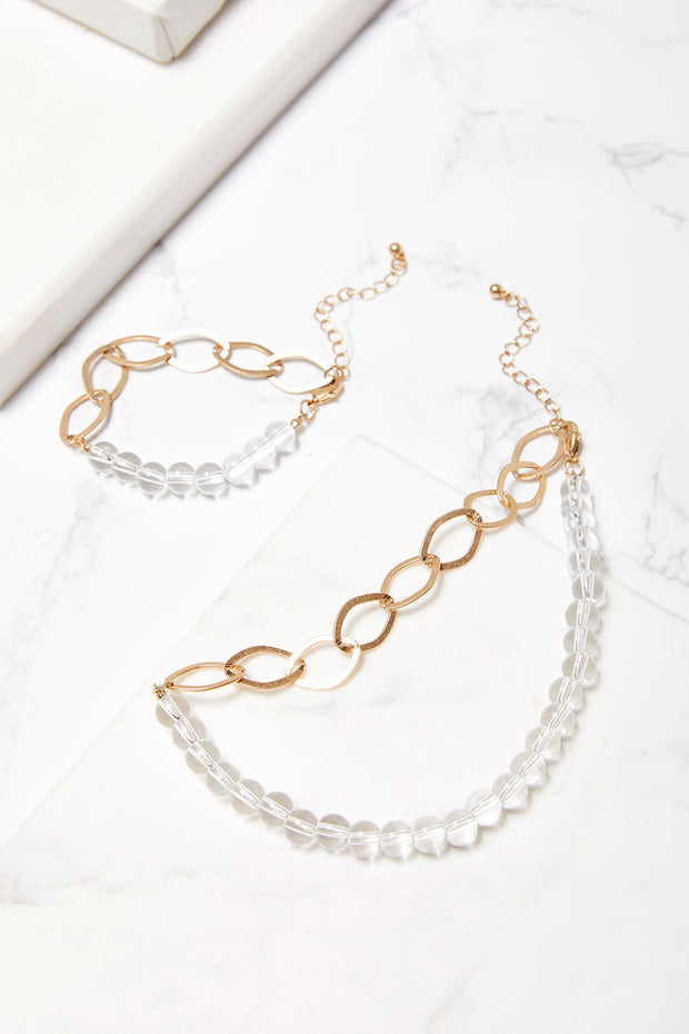 Clear Ball Bracelet w/Chain