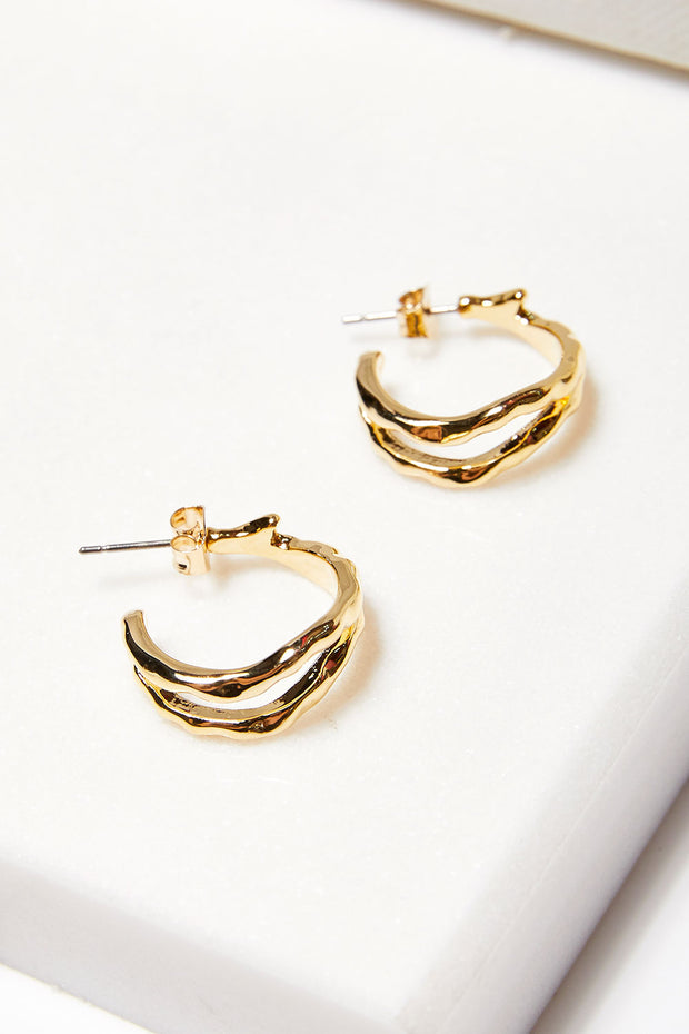 storets.com Hammered Double Hoop Earrings