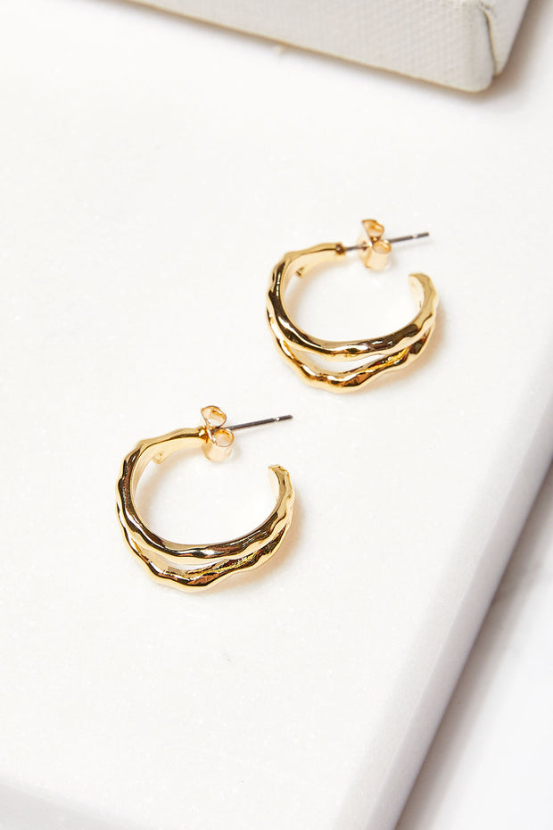 Hammered Double Hoop Earrings