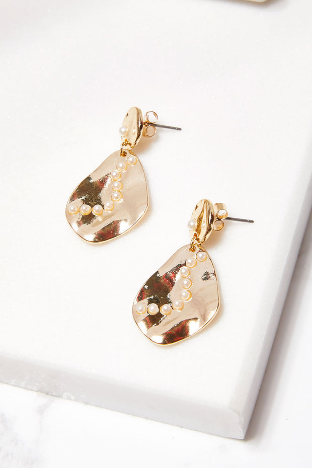 storets.com Pearl Embellished Dangle Earrings