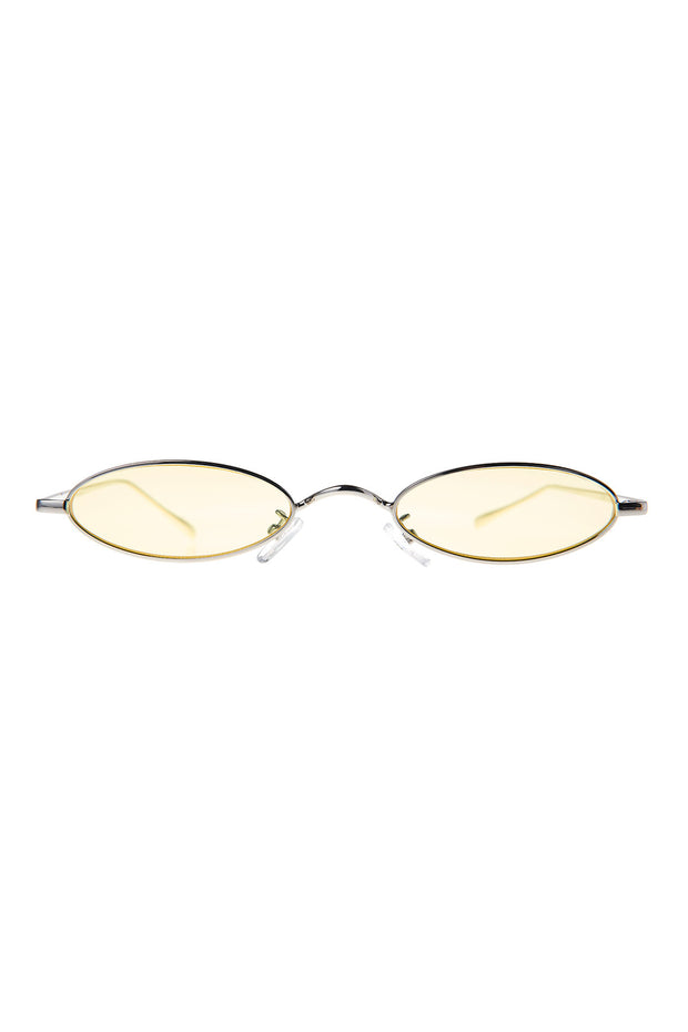 Skinny Round Sunglasses-Yellow