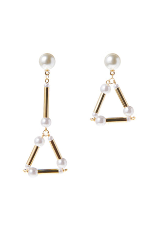 Golden Triangle Pearl Point Earrings-Gold