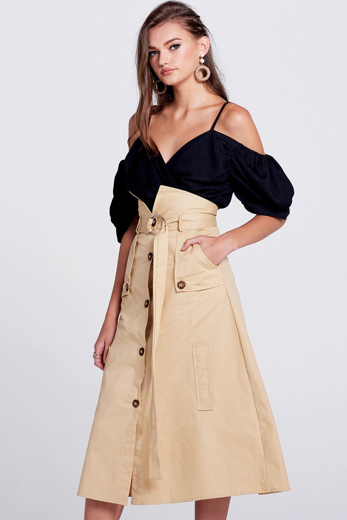 Jessy Trench Belted Skirt