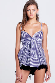 storets.com Sela Pin Stripe Tied Sleeve Top