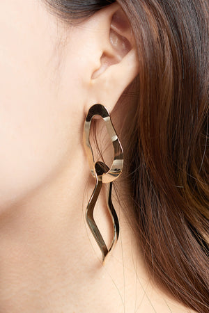 Wavy Two-ring Earrings-Gold