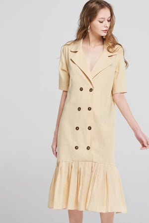 Abigail Double Button Pleats Dress-Beige