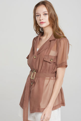 Raquel Mesh  Short Sleeve Jacket-Brown