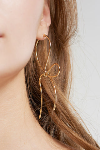 Ribbon Tied-up Earrings-Gold