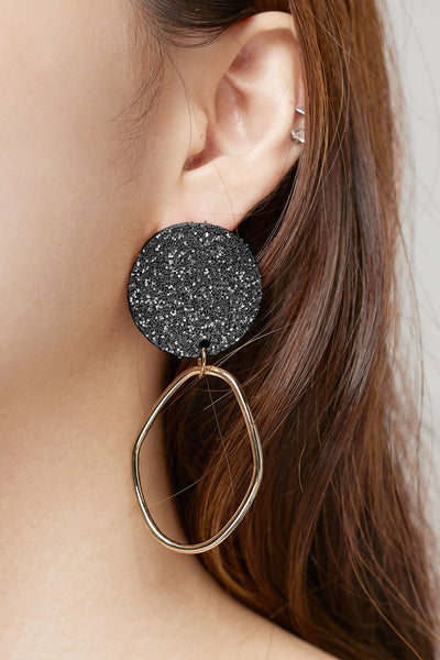 storets.com Sparkly Glitter Earrings-Black