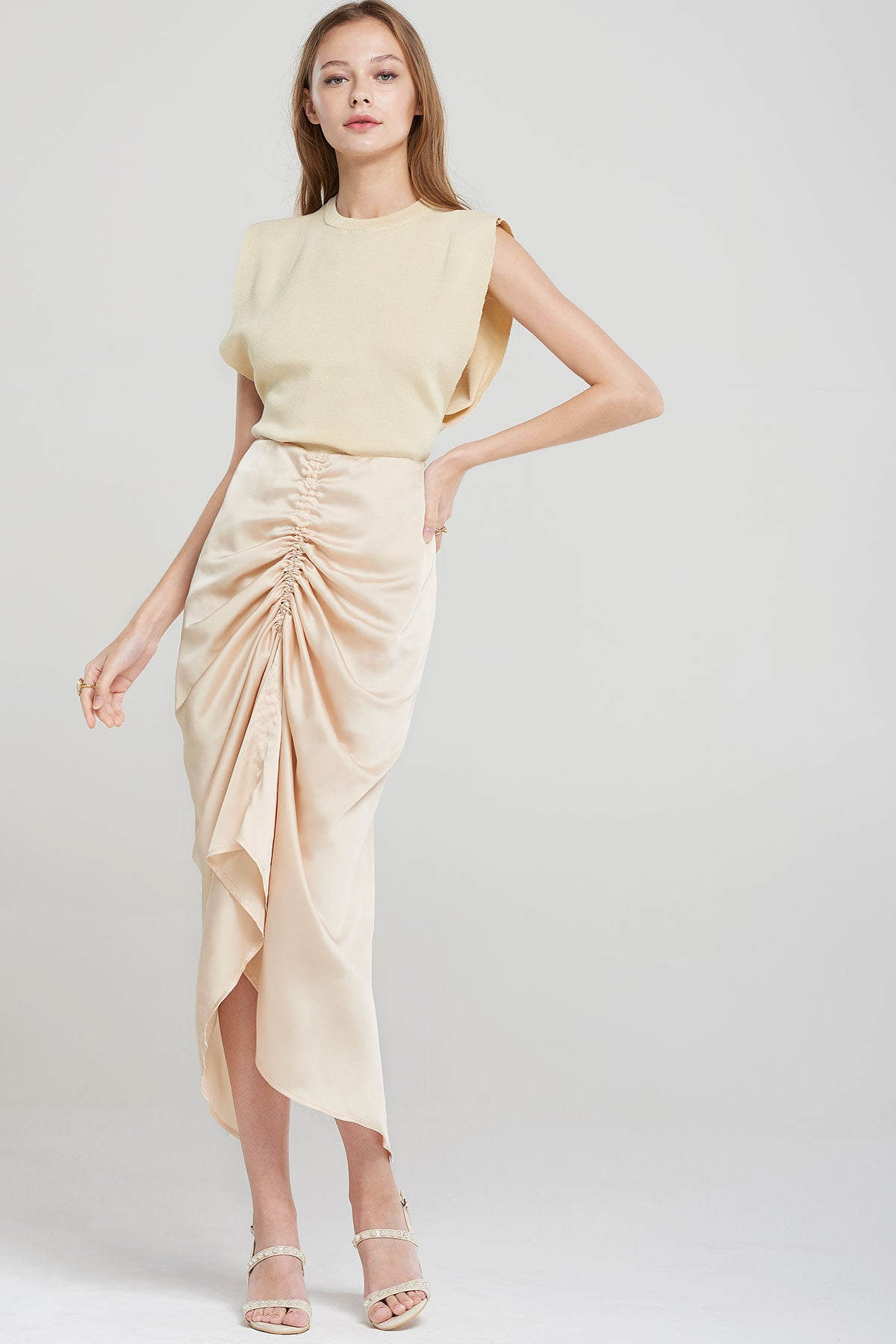 Layla Drapery Shirred Long Skirt-Beige