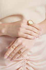 Weaved Waterdrop Ring-Ivory