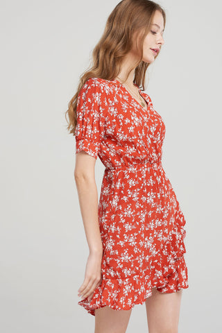 Estrella Floral Wrap Dress-Red